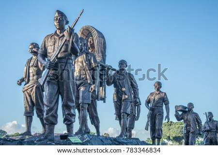 YOGYAKARTA, INDONESIA - December 23, 2017: The statue of General Sudirman together with soldiers (Patung Jenderal Sudirman) at Alun-Alun Utara