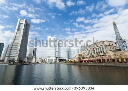 Yokohama city in sunny day - stock photo