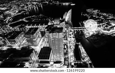 Yokohama city sky view at night - stock photo