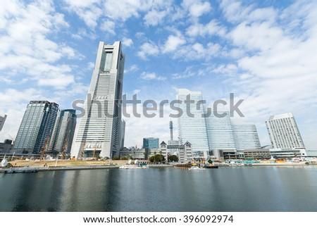 Yokohama city with blue sky - stock photo