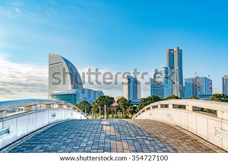 YOKOHAMA, JAPAN - December 20: Minato Mirai 21 buildings at Rnko Park in Yokohama, Japan on December 20, 2015. Yokohama is the third biggest city in Japan.
