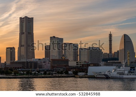 YOKOHAMA, JAPAN - December 2, 2016 :  Nightscape of Yokohama Minato Mirai.  Minato Mirai 21 is a seaside urban area in central Yokohama, Japan.