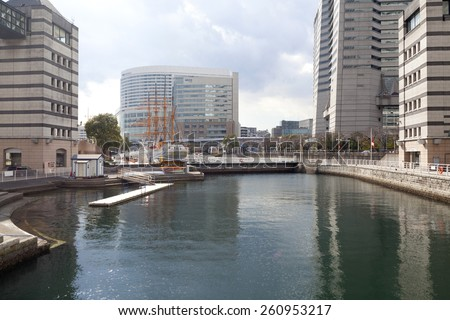 YOKOHAMA, JAPAN - FEB 13 : Scenic view of Yokohama buildings and river on February 13,2015 in Yokohama, Japan.