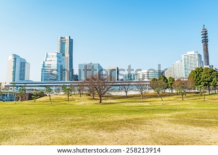 YOKOHAMA, JAPAN - February 28: Landscape park prospects the Yokohama Minato Mirai 21 buildings of landmark in Yokohama, Japan on February 28, 2015.
