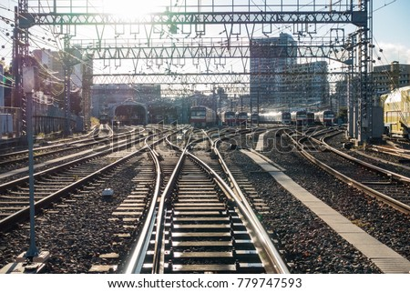 YOKOHAMA, JAPAN - November, 2017: Railway Depot for Keikyu trains. The Keikyu Main Line or Keiky-honsen is a railway line in Japan, operated by the private railway operator Keikyu.