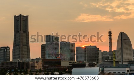 Yokohama, Japan sunset skyline.