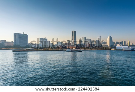 Yokohama Minato Mirai 21 Area in Yokohama, Kanagawa, Japan viewed from Osanbashi Pier.  - stock photo