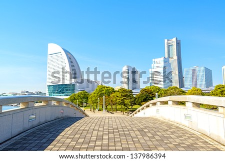 Yokohama Skyline on a Clear Spring Day. - stock photo