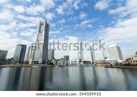 Yokohama skyline with blue sky - stock photo