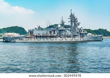 YOKOSUKA, JAPAN - AUGUST 1: JDS Yamayuki in JMSDF Yokosuka Naval Base, Japan on August 1, 2015. She is a Hatsuyuki-class destroyer of the Japan Maritime Self-Defense Force. - stock photo