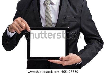 Yong businessman holding digital tablet computer showing screen display isolate on white background - stock photo
