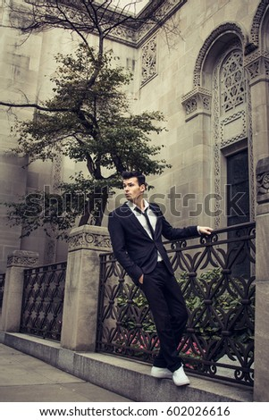 Yong Handsome Guy Walks Around And Poses On The Streets Of New York Outdoor Shot
