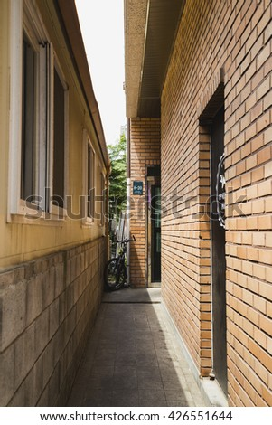 Yongin, Korea - May 23, 2016 : Back alley in Bojeong-dong Cafe Street
