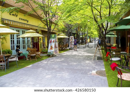 Yongin, Korea - May 23, 2016 : Bojeong-dong Cafe Street