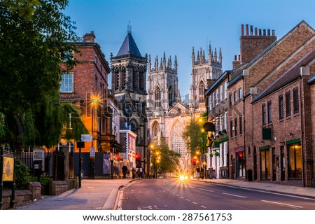 York evening cityscape view from the street with York Minster in the background.