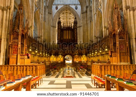 York Minster; the Quire and organ