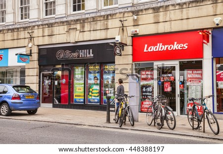 York, North Yorkshire, England: 4 April 2011 - Ladbrokes and William Hill, bookmakers, next door to one another in Piccadilly, York, North Yorkshire, England