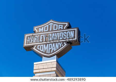 York, PA - September 23, 2016: The Black and Silver Harley-Davidson Logo Sign at the factory.