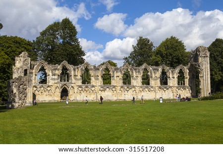 YORK, UK - AUGUST 27TH 2015: St. Marys Abbey Ruins situated in Museum Gardens in York, on 27th August 2015.