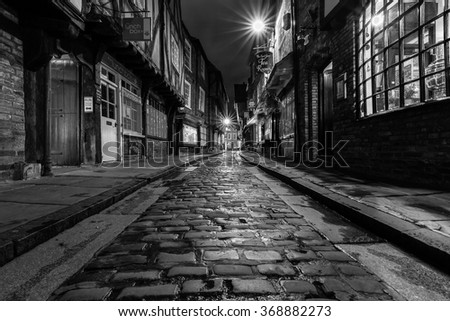 YORK, UK - August 05: The Shambles cobbles after heavy rain. August 05, 2015 in York.