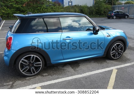 YORK, UK - CIRCA AUGUST 2015: blue Mini Cooper car (new model, produced from 2013 onwards) - stock photo