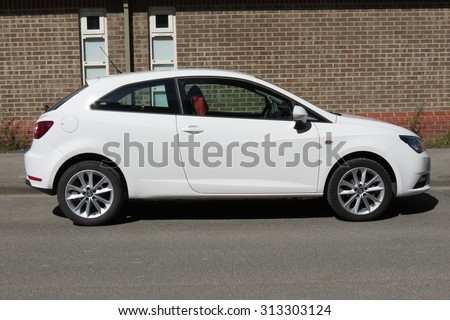YORK, UK - CIRCA AUGUST 2015: white Seat Ibiza car in a street of the city centre. - stock photo