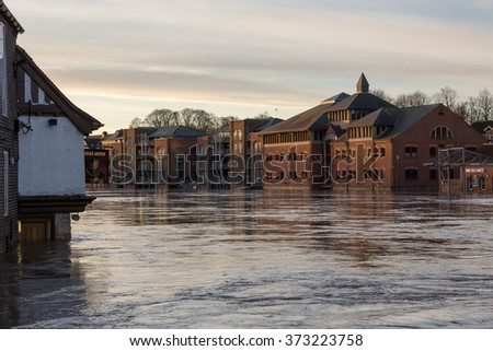 YORK, UK - DECEMBER 28th 2015: Flooded Ouse in York City Centre after heavy rain, on 28th December  2015. - stock photo