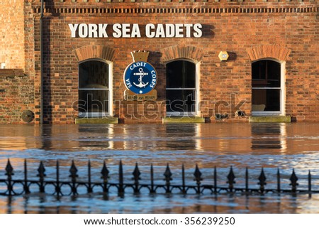 YORK, UK - DECEMBER 28th 2015: York Sea Cadets building in York City Centre after heavy rain, on 28th December  2015. - stock photo