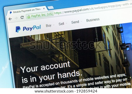 YORK, UNITED KINGDOM - MAY 3, 2014: Paypal web page after the company's rebranding in 2014, seen in a browser on a PC monitor. Paypal is a money transfer company with over 143 million active users. - stock photo