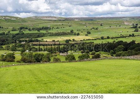 Yorkshire Dales National Park vista in Wensleydale, North Yorkshire, England - stock photo
