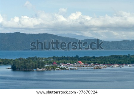 Yos Sudarso Bay (Indonesian: Teluk Yos Sudarso) also known earlier as Humboldt Bay is a small bay in Indonesia, island New Guinea - stock photo