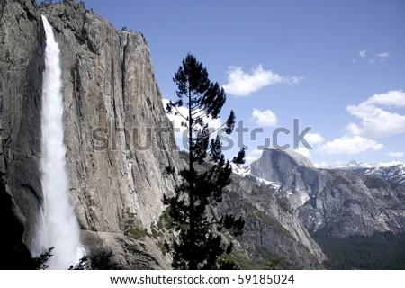 Yosemite Falls and Half Dome. Taken at Yosemite National Park, California, USA. - stock photo