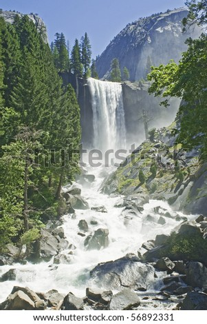 Yosemite Falls In summer On A Clear Day, California - stock photo