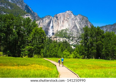 Yosemite Falls in Yosemite National Park,California - stock photo