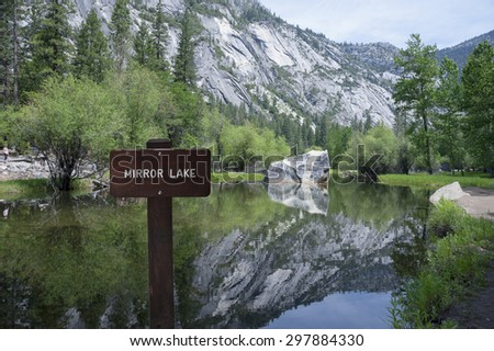 Yosemite Mirror Lake on Tenaya Creek - stock photo