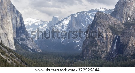 Yosemite National Park panorama - stock photo