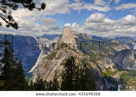 Yosemite National Park view from the Dome with trees on the background