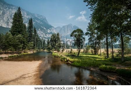 Yosemite nice river for walking - stock photo
