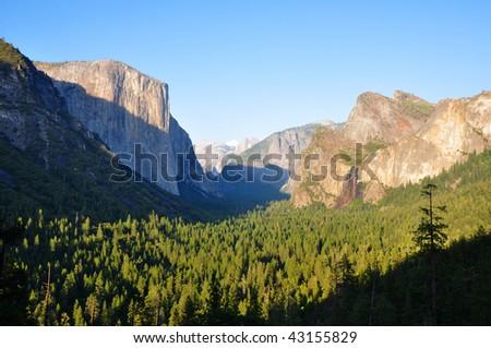 Yosemite Valley at dusk - stock photo