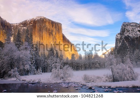 Yosemite valley in California during winter - stock photo