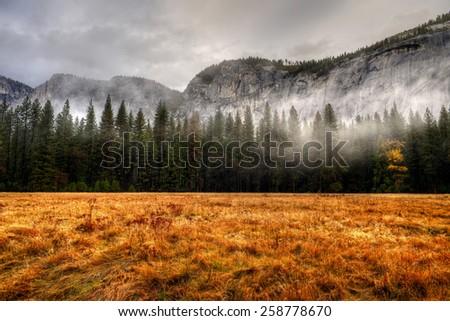 Yosemite Valley National Park California in autumn - stock photo