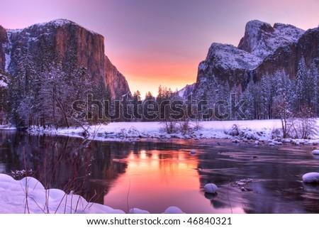 Yosemite Valley Sunrise - stock photo
