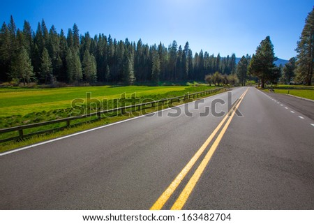 Yosemite Wawona road Route 41 meadows and forest in California - stock photo
