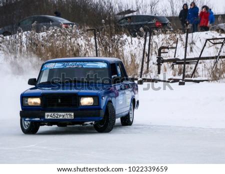 YOSHKAR OLA, RUSSIA   JANUARY 21, 2018: Winter Auto Show   Drift