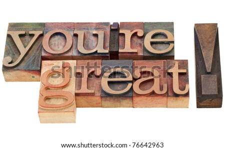 you are great compliment  - isolated words in vintage wood letterpress printing blocks - stock photo