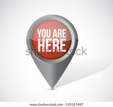 you are here pointer locator illustration design over a white background