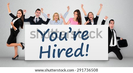 You are hired word writing on banner - stock photo