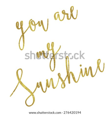 You Are My Sunshine Gold Faux Foil Metallic Glitter Inspirational Quote Isolated on White Background - stock photo