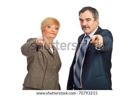 You are the one!Mature business people pointing and chosen you isolated on white background - stock photo