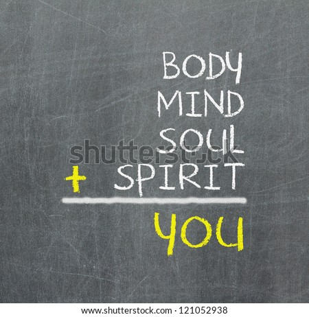 You, body, mind, soul, spirit - a simple mind map for personal growth - stock photo
